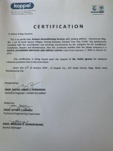 certificate accreditation of kopel